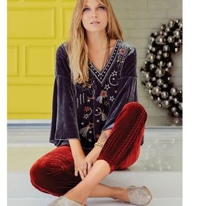 Nwt Johnny Was embroidered Velvet blouse  Size S